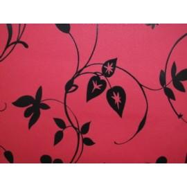 Fond rosu cu flori negre