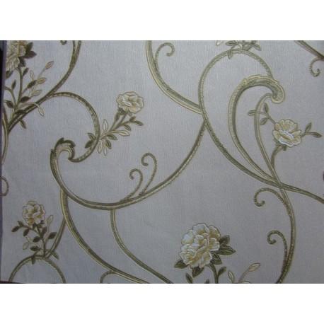 Tapet model floral auriu